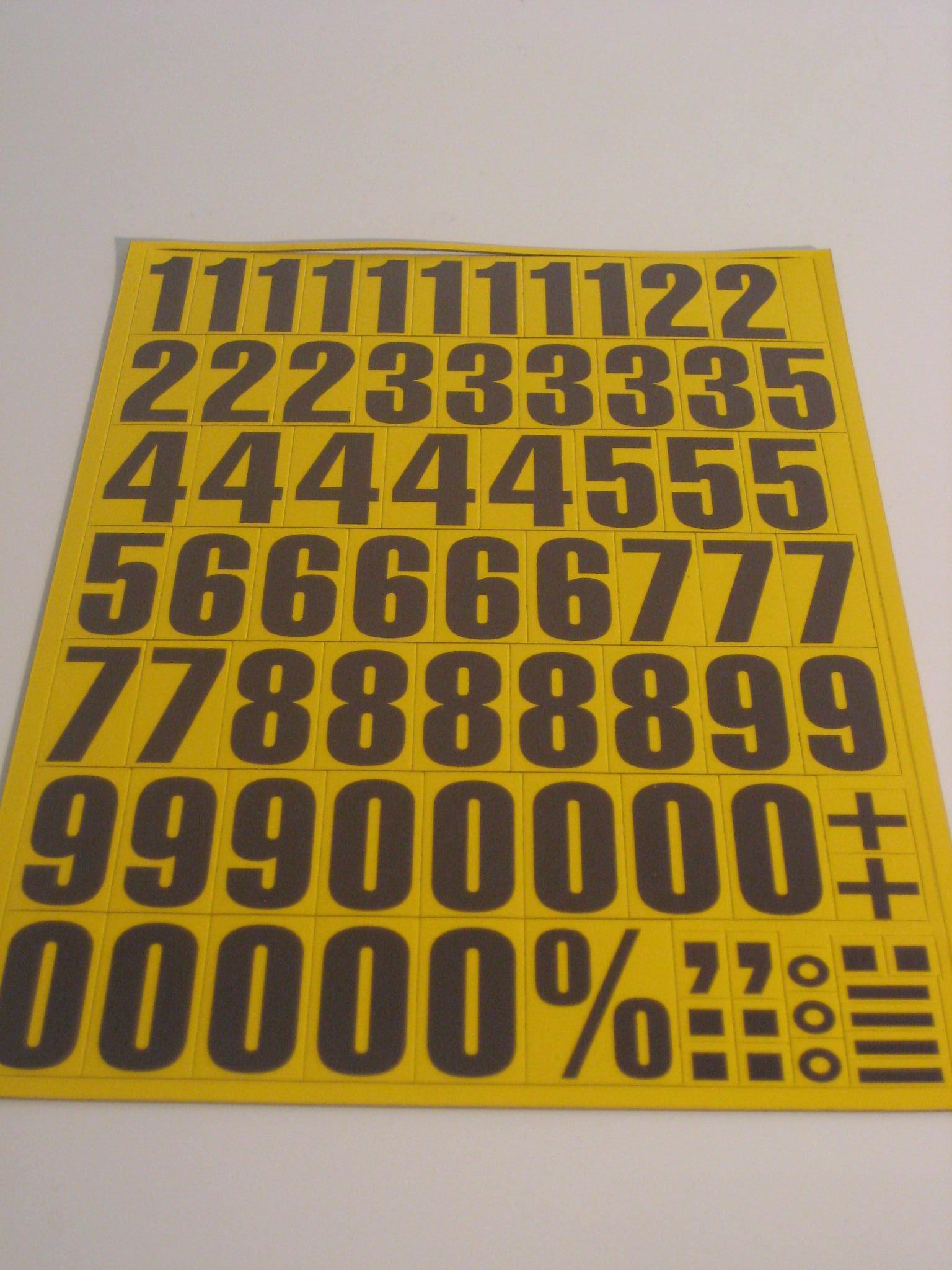 43mm black printed magnetic numbers on yellow vinyl